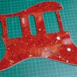 ② 4 ply Vintage Celluloid Red Tort STrat pickguard