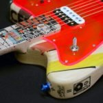 Neon red transparent custom pickguard