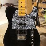 black and silver paisley scratchplate telecaster